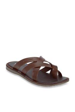 Bond Street By Red Tape Dark Tan Cross Strap Sandals