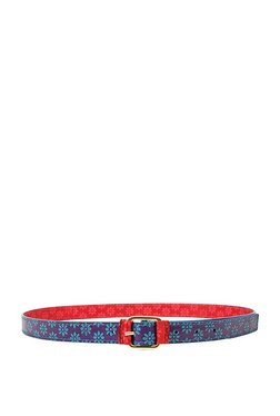 Holii B 01 Blue & Red Embossed Leather Reversible Belt