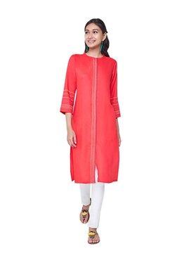 Global Desi Red Embroidered Viscose Kurta