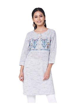 Global Desi Grey Embroidered Cotton Tunic