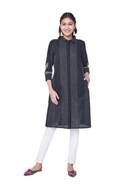 Global Desi Black Printed Cotton Tunic