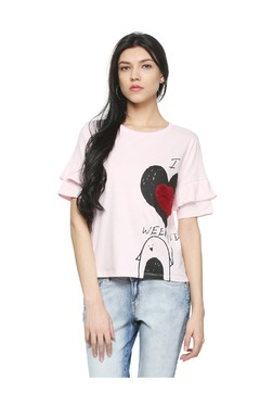 People Pink Printed Cotton Top