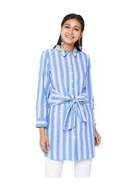 Global Desi Blue Striped Cotton Tunic
