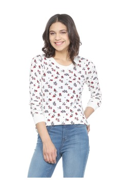 Solly By Allen Solly White Printed Cotton Top