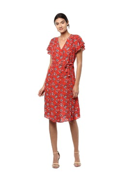 Solly By Allen Solly Red Printed Knee Length Dress