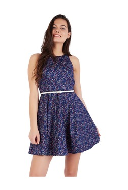 Solly By Allen Solly Blue Printed Cotton Dress