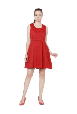 Solly By Allen Solly Red Polka Dot Cotton Dress