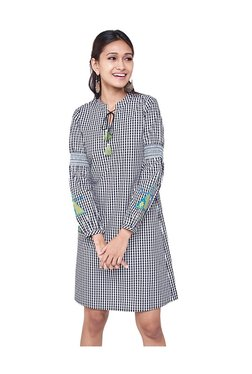Global Desi Black Checks Cotton Tunic