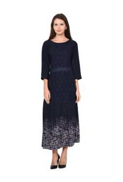 Aujjessa Indigo Geometric Print A-Line Dress