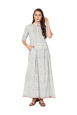 Aujjessa White & Black Printed Cotton Maxi Dress