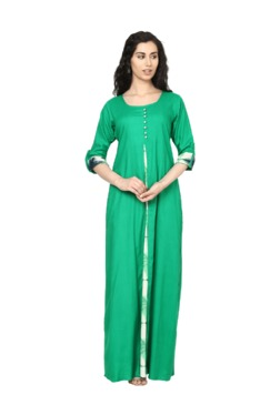Aujjessa Green Regular Fit Viscose Rayon Maxi Dress
