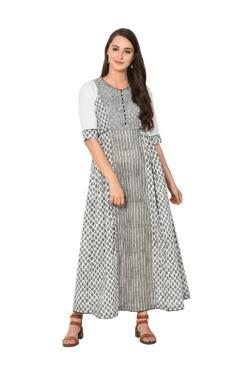 Aujjessa White & Black Printed Cotton Maxi Dress - Mp000000003180929