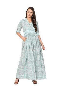 Aujjessa Light Blue Floral Print Cotton Maxi Dress