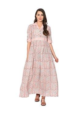 Aujjessa Peach Floral Print Cotton Maxi Dress