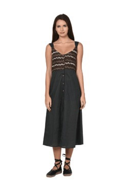 Aujjessa Grey Geometric Print A-Line Spaghetti Dress