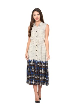 Aujjessa Faun & Blue Geometric Print A-Line Dress