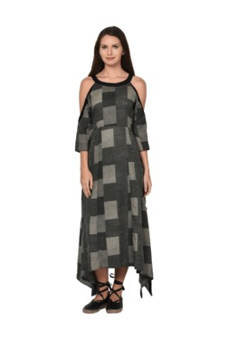 Aujjessa Black & Grey Geometric Print Cold Shoulder Dress