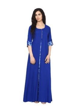 Aujjessa Royal Blue Regular Fit Viscose Rayon Maxi Dress