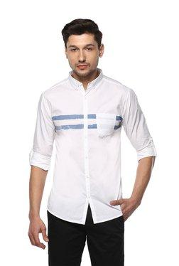 Spykar White Button Down Collar Cotton Shirt