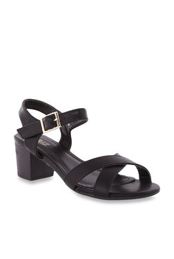 CERIZ Galina Black Ankle Strap Sandals