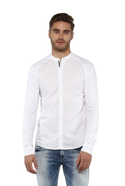 Spykar White Raglan Sleeves Band Collar Shirt