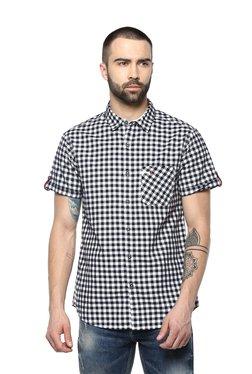 Spykar Black & White Slim Fit Checks Shirt