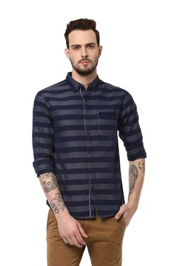Spykar Navy Slim Fit Striped Full Sleeves Shirt