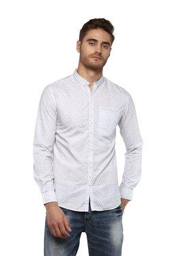 Spykar White Printed Button Down Collar Shirt