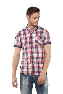 Spykar Off-White & Red Checks Half Sleeves Shirt