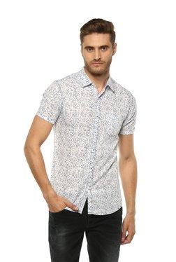 Spykar Off-White & Blue Cotton Printed Slim Fit Shirt