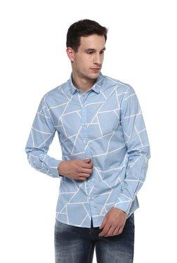 Spykar Light Blue Cotton Full Sleeves Shirt