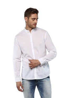Spykar White Cotton Button Down Collar Shirt