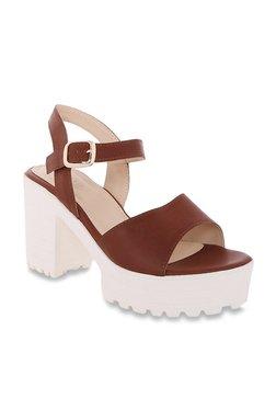 CERIZ Theola Dark Tan Ankle Strap Sandals