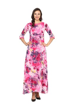 Aujjessa Fuchsia Floral Print A-Line Polyester Maxi Dress