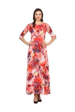 Aujjessa Peach Floral Print A-Line Polyester Maxi Dress