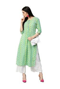Jaipur Kurti Turquoise & Green Printed Cotton Kurta