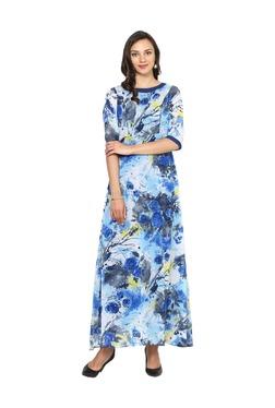 Aujjessa Blue Floral Print A-Line Polyester Maxi Dress