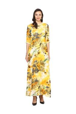 Aujjessa Yellow Floral Print A-Line Polyester Maxi Dress