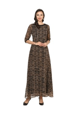 Aujjessa Black Printed A-Line Polyester Maxi Dress