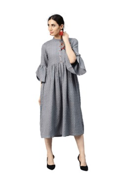 1e0a114a57 Jaipur Kurti Grey Embroidered Midi Dress