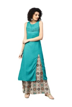 Jaipur Kurti Turquoise & Off White Kurta With Palazzo