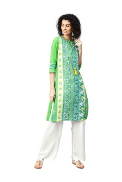 Jaipur Kurti Green & Off White Kurta With Palazzo