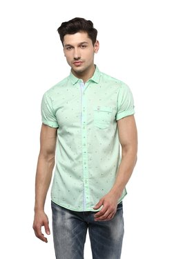 Spykar Mint Green Half Sleeves Printed Shirt