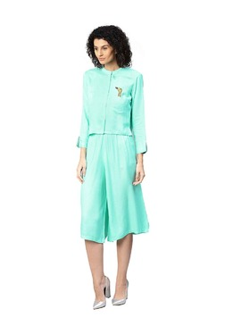 Jaipur Kurti Turquoise Embroidered Top With Culottes