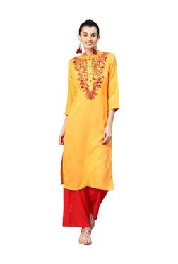 Jaipur Kurti Orange & Red Printed Kurta With Palazzo