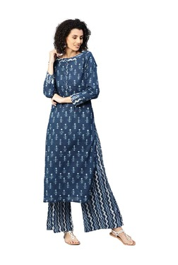Jaipur Kurti Blue Printed Cotton Kurta With Palazzo 293530c7ffa