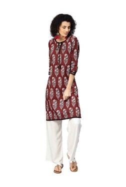 Jaipur Kurti Maroon & Off White Kurta With Palazzo