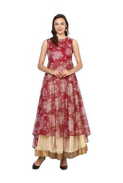 Aujjessa Maroon Lace Asymmetrical Polyester Dress
