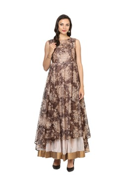 Aujjessa Brown Lace Asymmetrical Polyester Dress