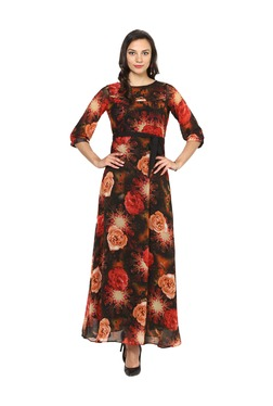 Aujjessa Black Floral Print A-Line Polyester Maxi Dress
